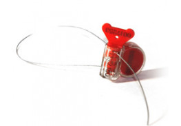 Роторная номерная пломба Ротор с тросом 1 мм, 240 мм, красный